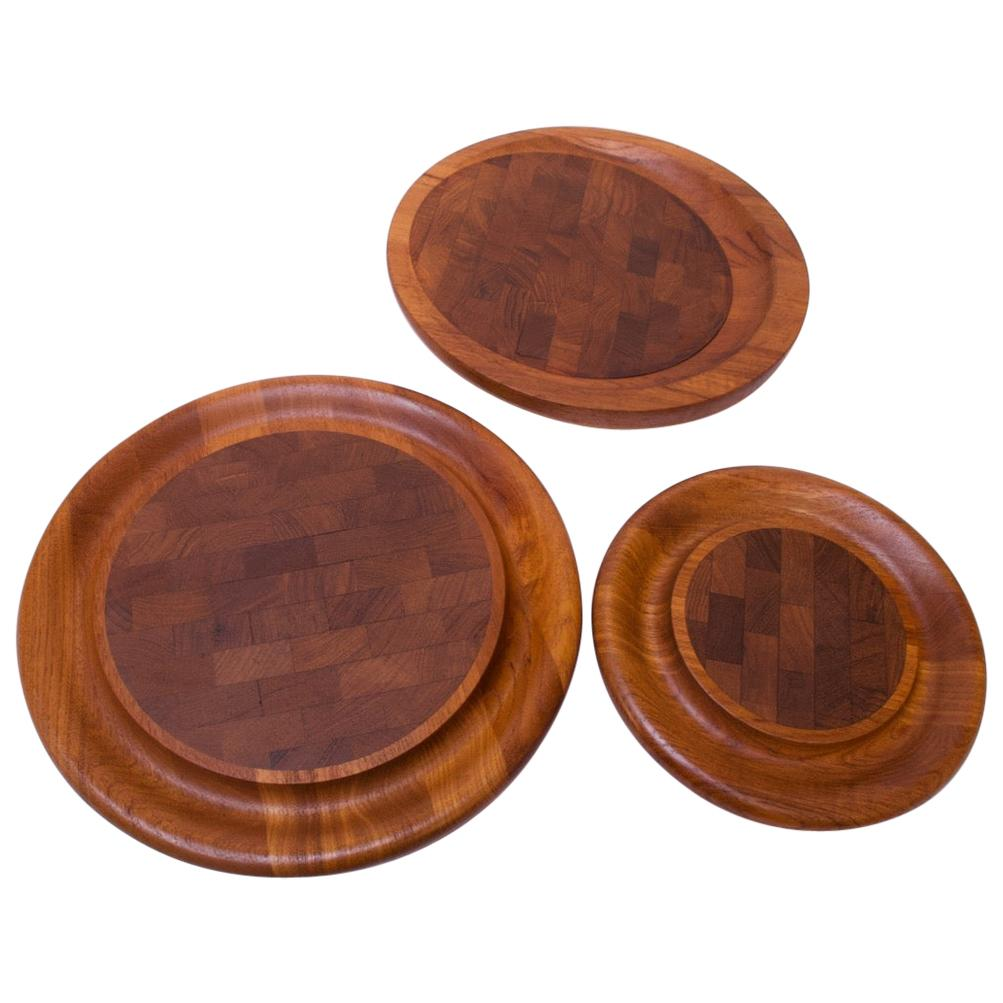 Set of Three Staved Teak Cutting Boards / Trays by Jens Quistgaard for Dansk