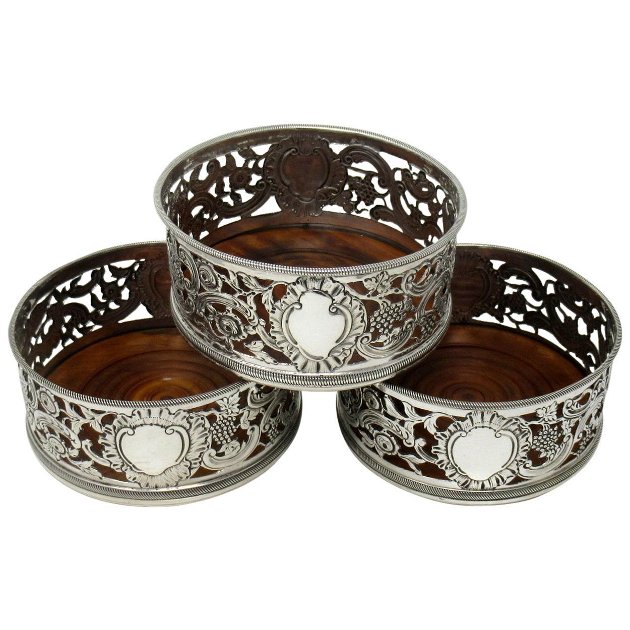 Set of Three Sterling Silver Wine Coasters Samuel Hayne Dudley Cater London 1841