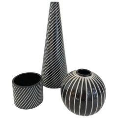 Set of Three Stig Lindberg for Gustavsberg, Domino Vases