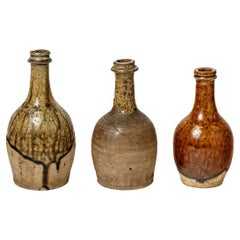 Set of Three Stoneware Ceramic Bottles XIXth Century French Production La Borne