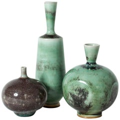 Set of Three Stoneware Vases by Berndt Friberg