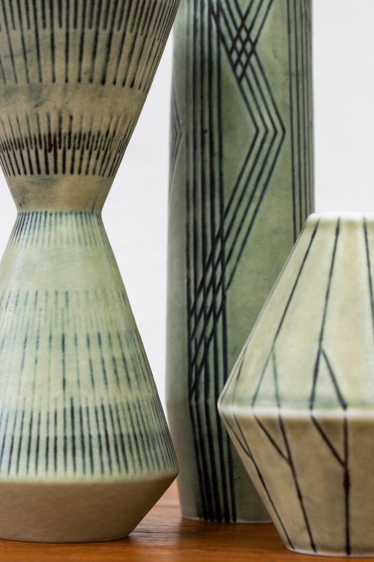 Swedish Set of Three Stoneware Vases by Carl-Harry Stålhane, Rörstrand, 1950s For Sale