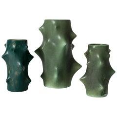 Set of Three Stoneware Vases by Knud Basse