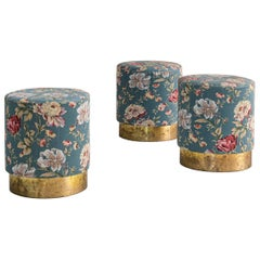 Set of Three Stools, Floral Decorated Fabric