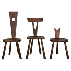 Set of Three Studio Chairs in Solid Oak Wood, France 1950s