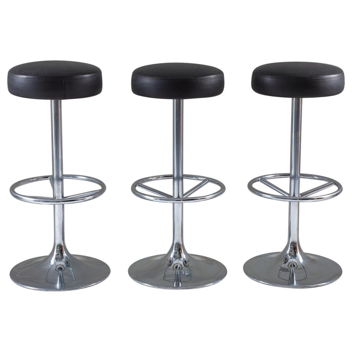 Set of Three Swedish Chrome Bar Stools by Johanson Design