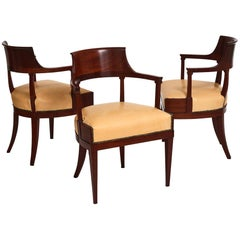 Set of Three Swedish Neoclassical Armchairs, First Quarter of the 19th Century