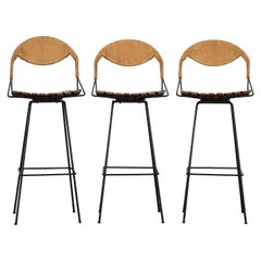 Set of Three Swivel Bar Stools by Arthur Umanoff, 1960s