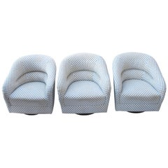 Set of Three Swivel Club Chairs by Ward Bennett