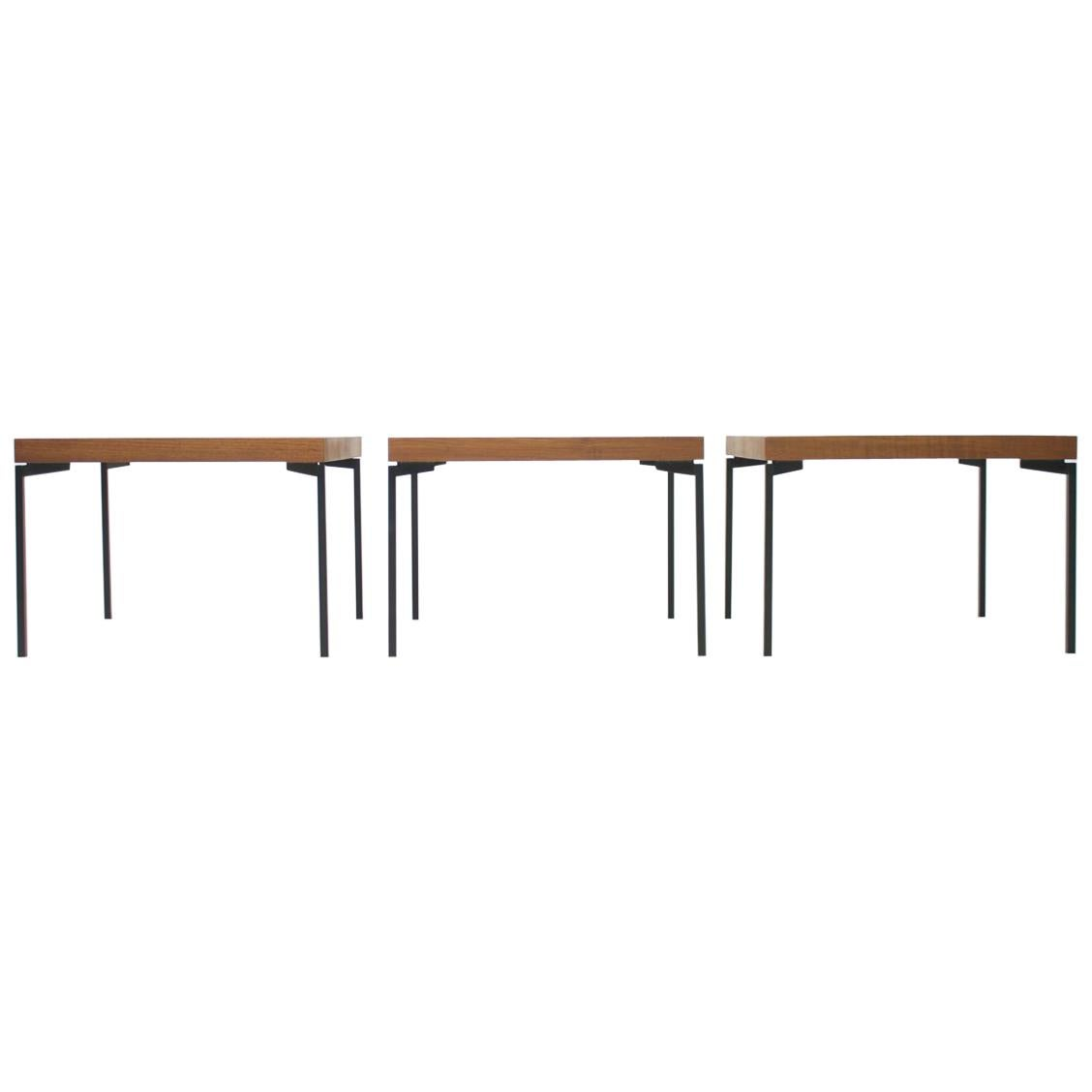 Set of Three Teak and Metal Side or End Tables Germany 1950s Nightstands