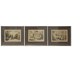 "Set of Three ""Temperance"" Color Engravings by Cruikshank, 19th Century"