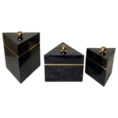 Set of Three Tessellated Horn Jewelry Boxes