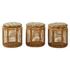 Set of Three Tito Agnoli Cane Stools w/ Danish Wool Plaid Cushions & Storage