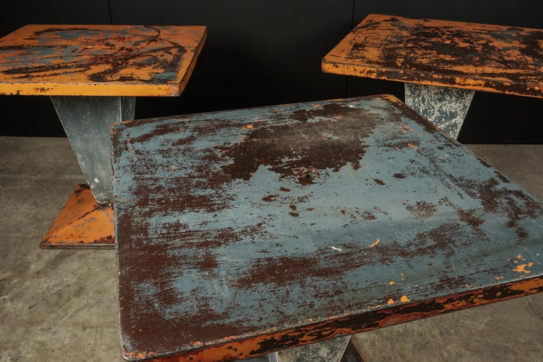 Set of Three Tolix Bistro Tables with Original Paint from France, circa 1950 In Good Condition For Sale In Nashville, TN