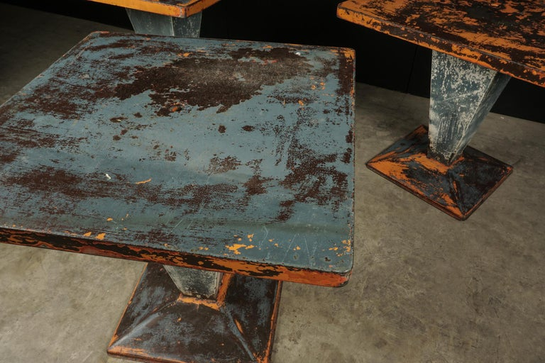 Set of Three Tolix Bistro Tables with Original Paint from France, circa 1950 For Sale 3
