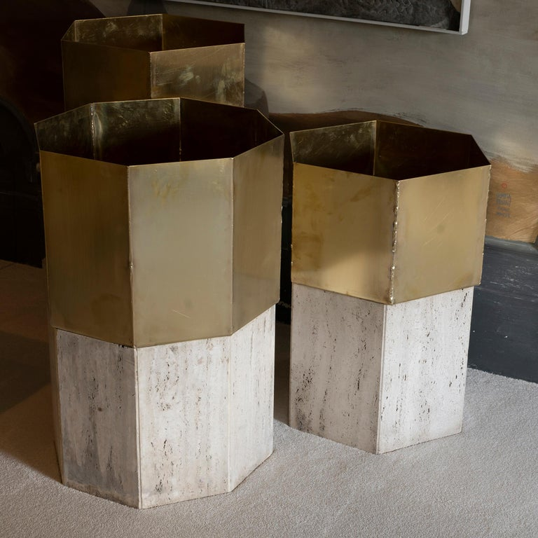 Italian Set of Three Travertine and Natural Brass Planter, Italy, 1970s For Sale