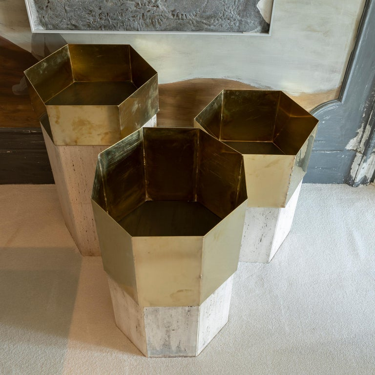 Late 20th Century Set of Three Travertine and Natural Brass Planter, Italy, 1970s For Sale