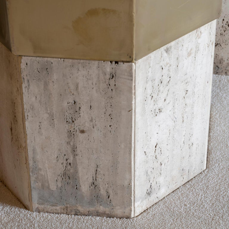 Set of Three Travertine and Natural Brass Planter, Italy, 1970s For Sale 4