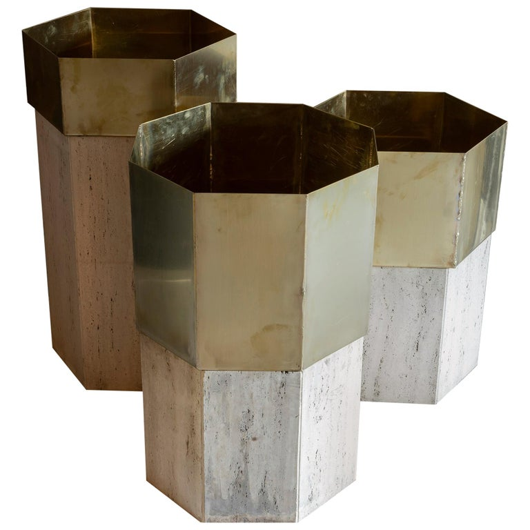 Set of Three Travertine and Natural Brass Planter, Italy, 1970s For Sale