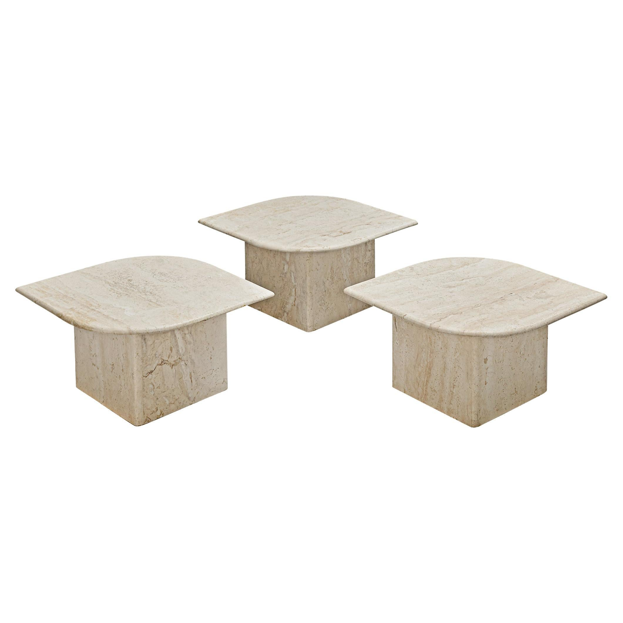Set of Three Travertine Coffee Tables with Eye-Shaped Top