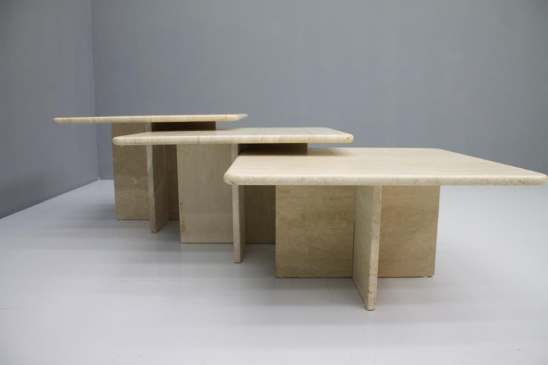 Mid-Century Modern Set of Three Travertine Side or Coffee Tables, Italy, 1970s II For Sale