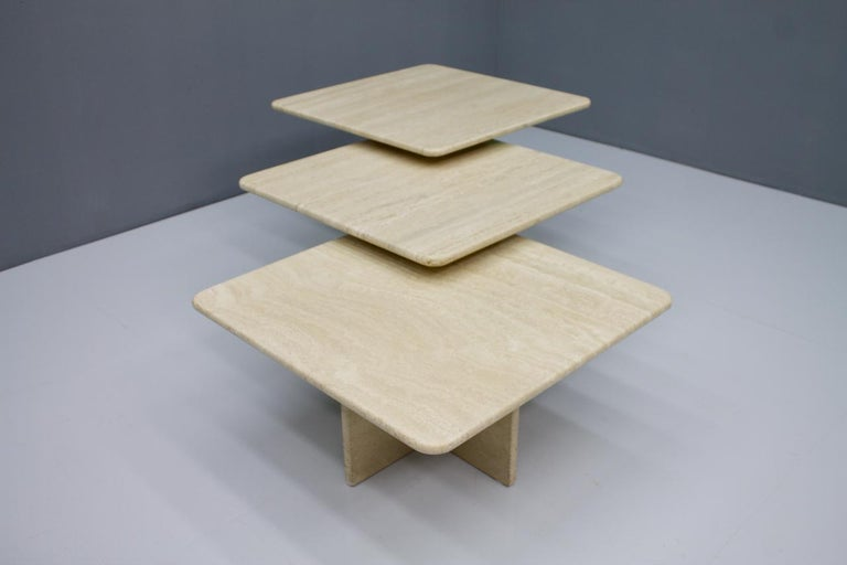 Italian Set of Three Travertine Side or Coffee Tables, Italy, 1970s II For Sale