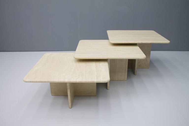 Late 20th Century Set of Three Travertine Side or Coffee Tables, Italy, 1970s II For Sale
