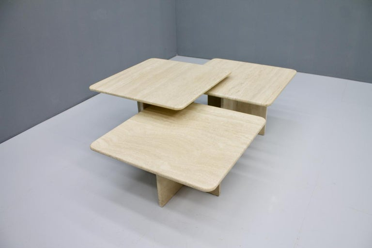 Set of Three Travertine Side or Coffee Tables, Italy, 1970s II For Sale 2