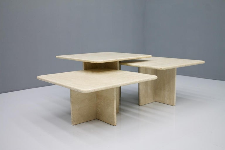 Set of Three Travertine Side or Coffee Tables, Italy, 1970s II For Sale 3