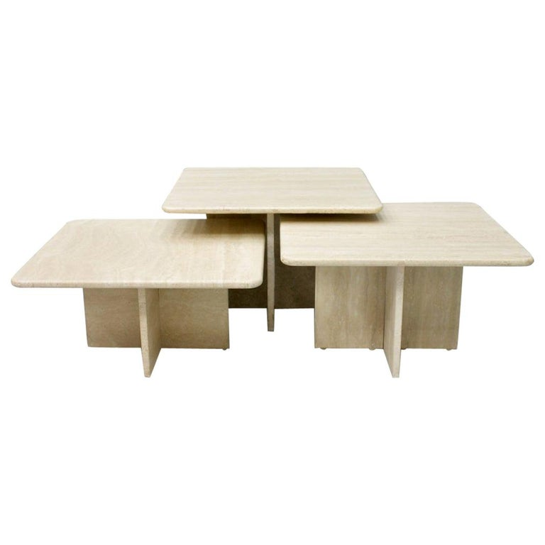 Set of Three Travertine Side or Coffee Tables, Italy, 1970s II For Sale