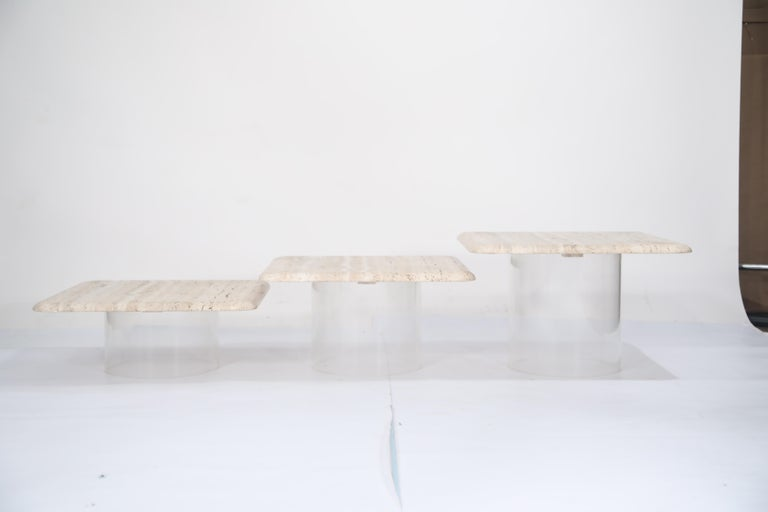 Set of Three Travertine Tables with Cylindrical Lucite Bases, circa 1970s For Sale 8