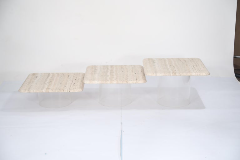 Set of Three Travertine Tables with Cylindrical Lucite Bases, circa 1970s For Sale 9