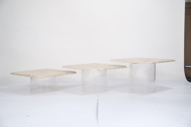 Set of Three Travertine Tables with Cylindrical Lucite Bases, circa 1970s For Sale 10