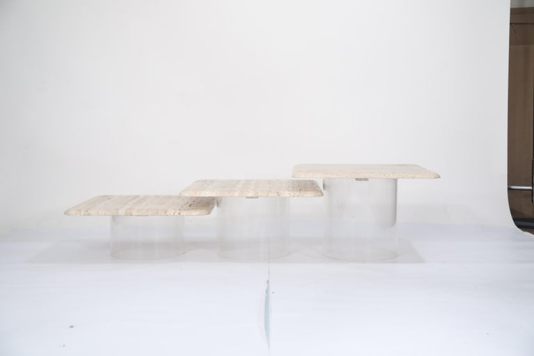 Set of Three Travertine Tables with Cylindrical Lucite Bases, circa 1970s For Sale 11