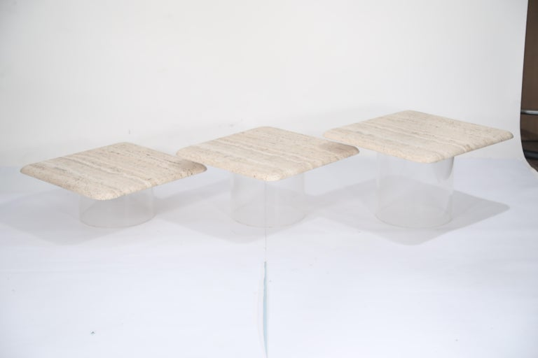 Set of Three Travertine Tables with Cylindrical Lucite Bases, circa 1970s For Sale 13