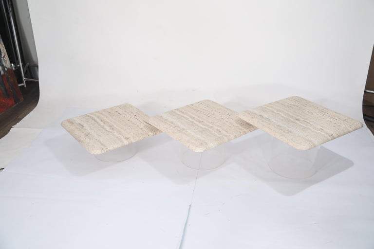 Set of Three Travertine Tables with Cylindrical Lucite Bases, circa 1970s For Sale 14