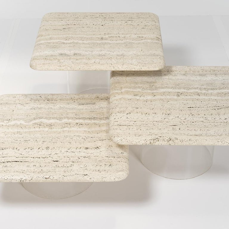 Modern Set of Three Travertine Tables with Cylindrical Lucite Bases, circa 1970s For Sale