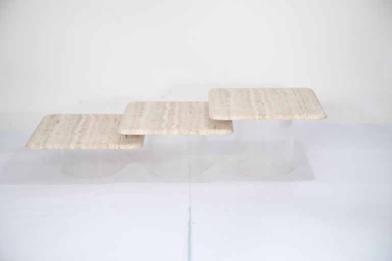 American Set of Three Travertine Tables with Cylindrical Lucite Bases, circa 1970s For Sale