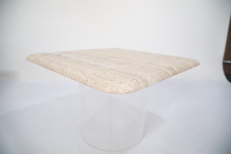 Set of Three Travertine Tables with Cylindrical Lucite Bases, circa 1970s For Sale 3