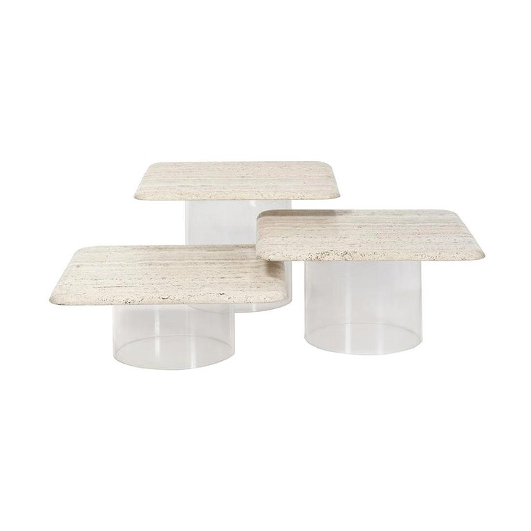 Set of Three Travertine Tables with Cylindrical Lucite Bases, circa 1970s For Sale