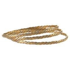 Set of Three Tri-Color Gold Ropetwist Bangle Bracelets
