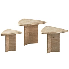 Set of Three Triangular Cocktail Tables in Travertine