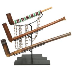 Set of Three Tribal Zulu Wood Pipes on Stands, South Africa