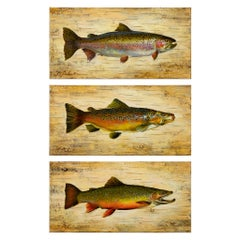 Set of Three Trout on Board Original Paintings by Greg Parker