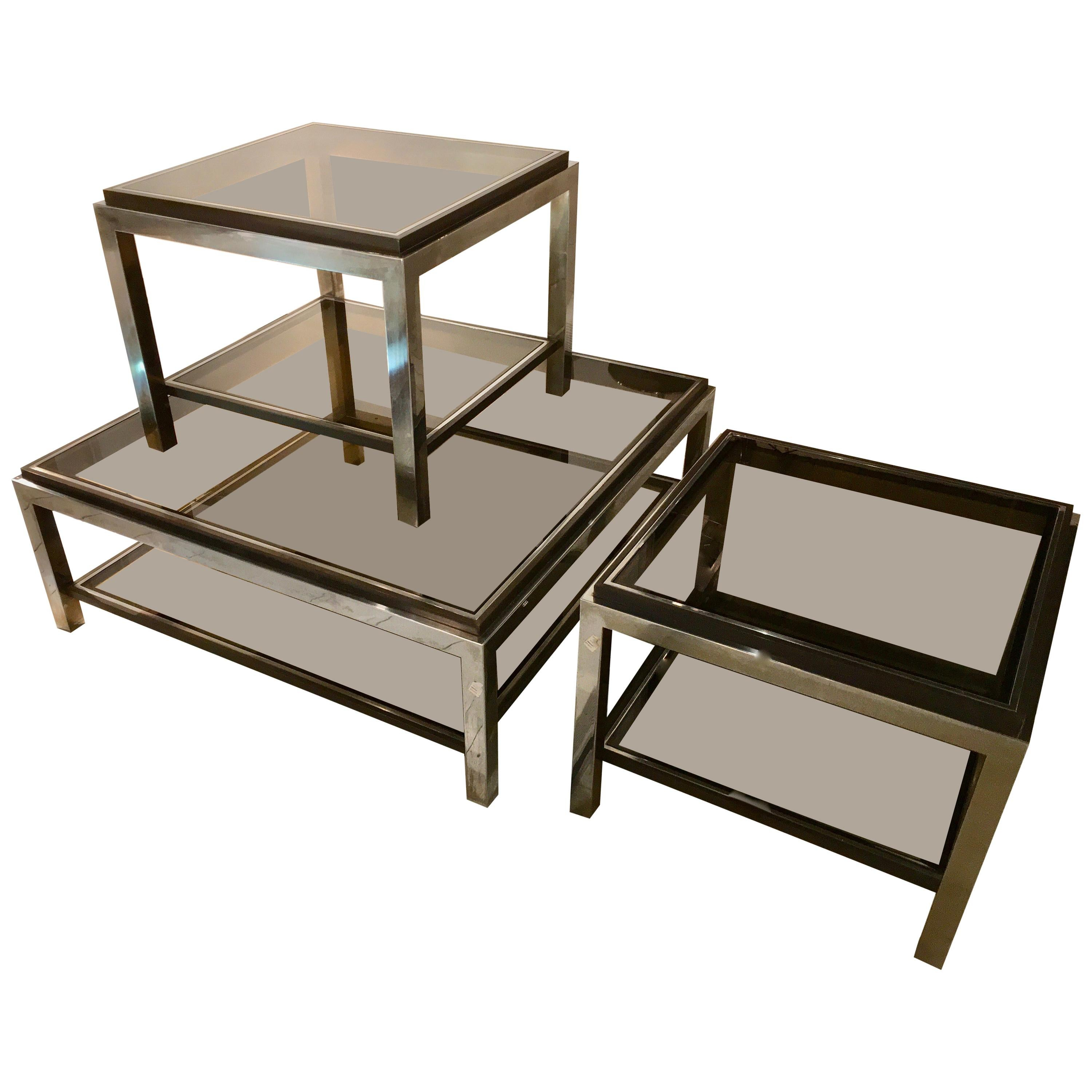 Set of Three Two-Tiers Side Tables by Willy Rizzo, France, 1970