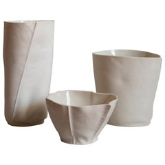 Set of Three Unique Kawa Pieces, Bowl and Vessels, Porcelain, Ceramic, in Stock