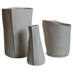 Set of Three Unique Kawa Vases and Vessels, Porcelain, Ceramic, in Stock