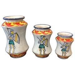 Set of Three Unique Pieces Hand Painted Paladin Sicilian Albarello Vases