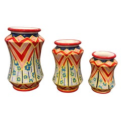 Set of Three Unique Pieces Hand Painted Sicilian Terracotta Albarello Vases