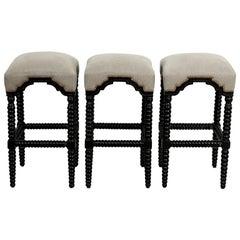 Set of Three Upholstered Bobbin Bar Stools
